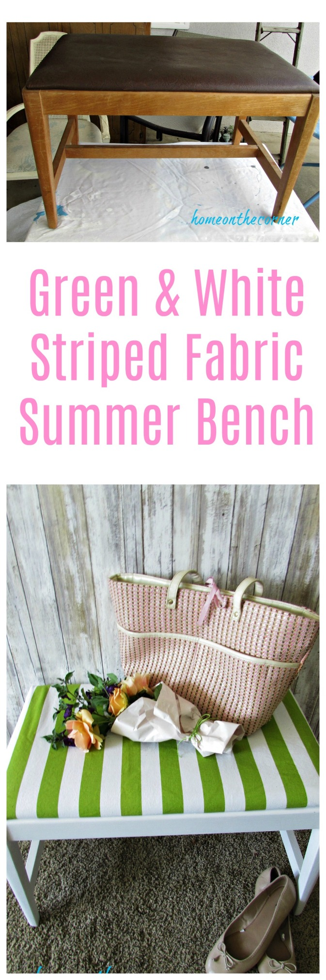 Green and White striped bench Title