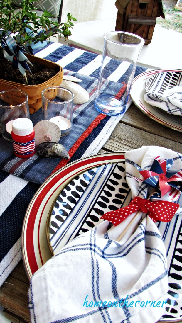 red, white and blue outdoor dining