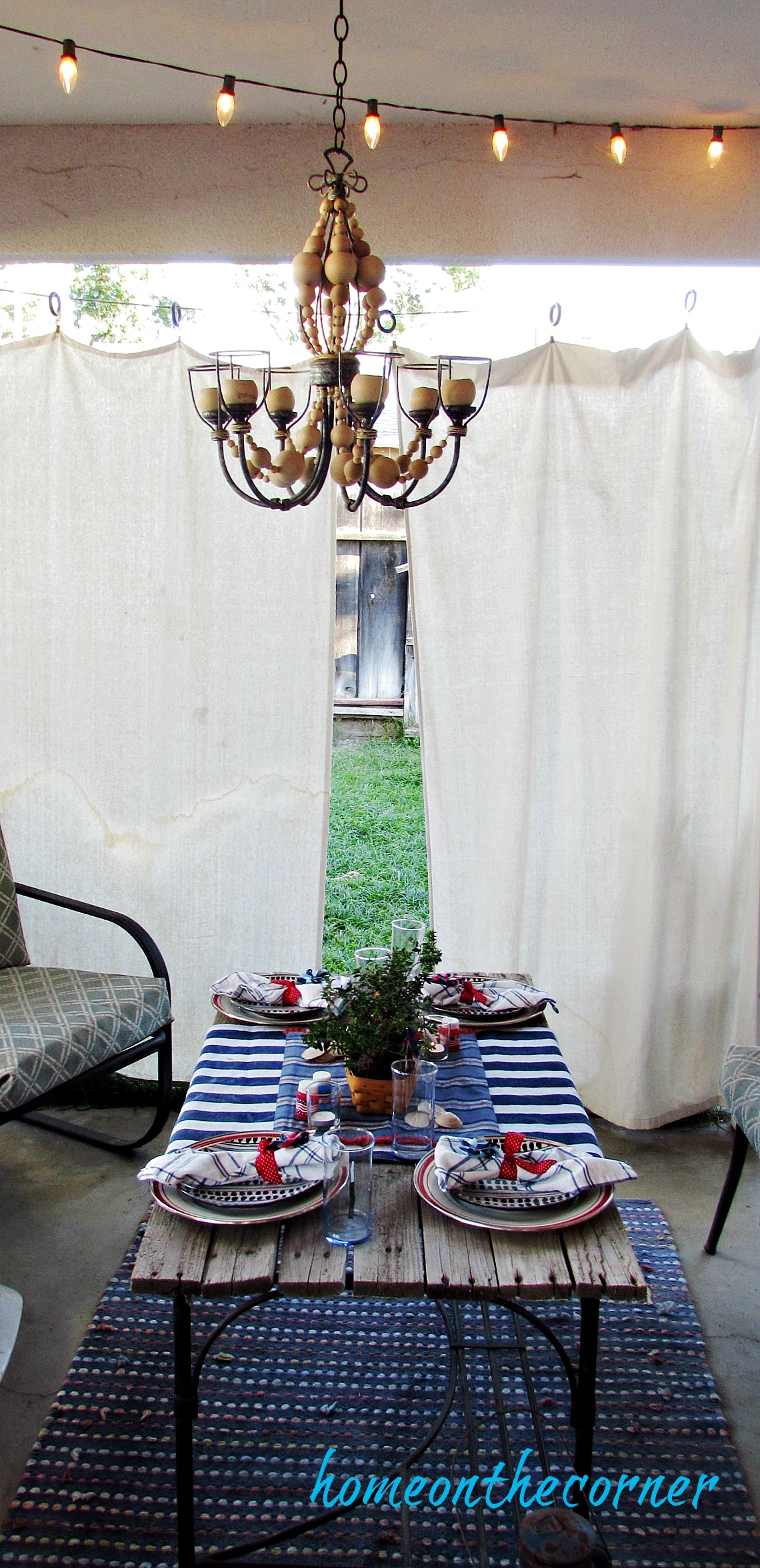 Red, white and blue patio dining