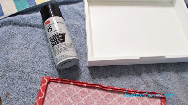 wooden box coral fabric spray glue