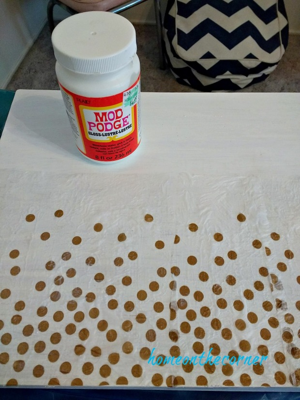 wooden box gold and white dots mod podge