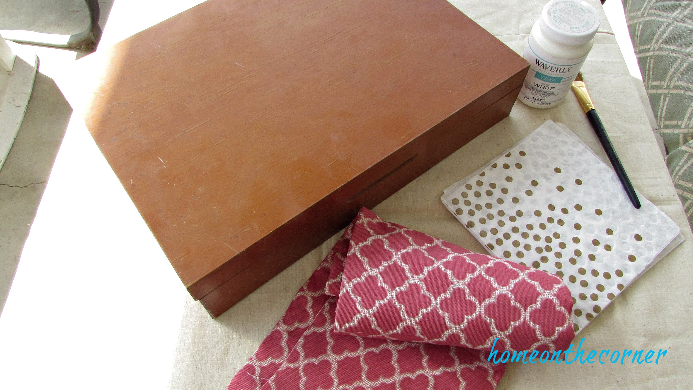 wooden box makeover flatware storage