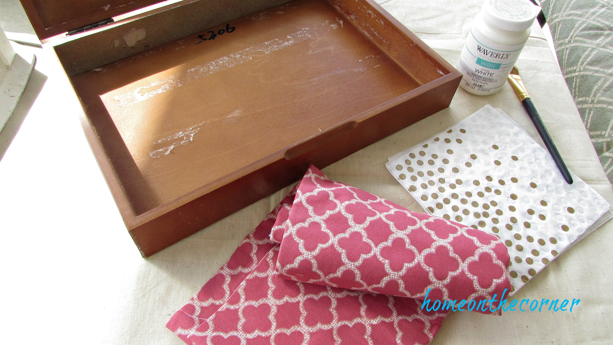 wooden box makeover supplies