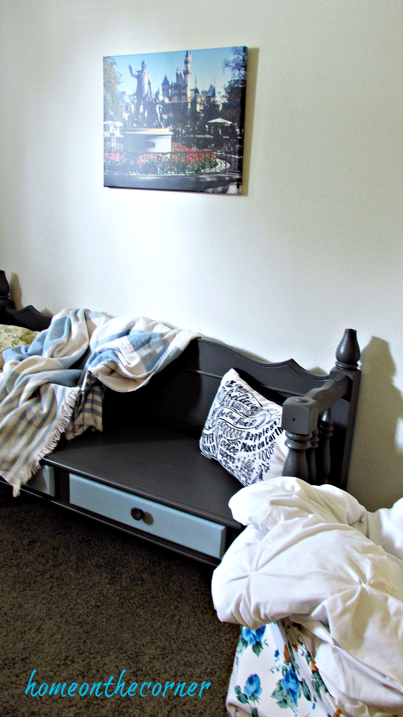 Guest Room Makeover Bench, Canvas on the Cheap, Disney Pillow