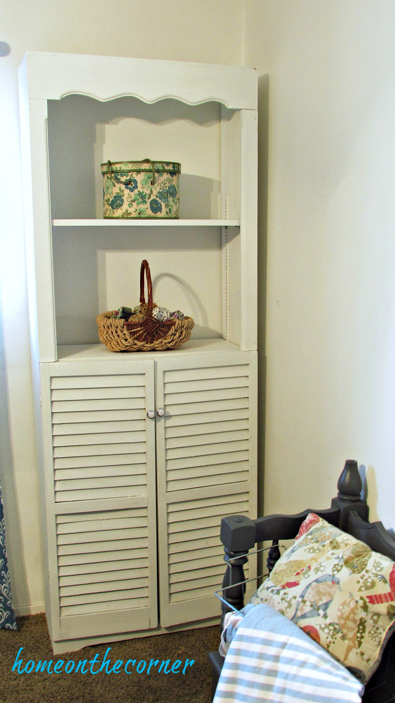Guest Room Makeover Book Shelf with Shutter Doors
