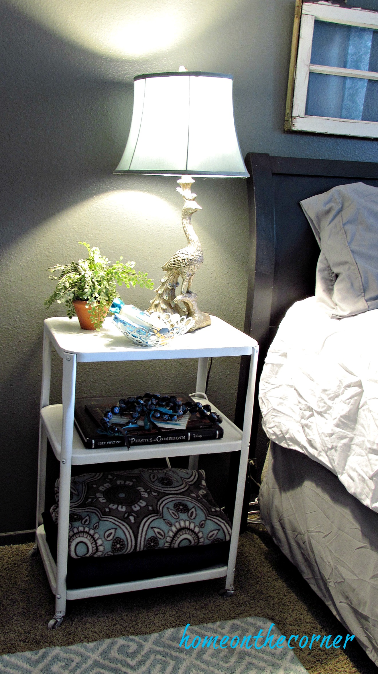 guest room makeover metal night stand