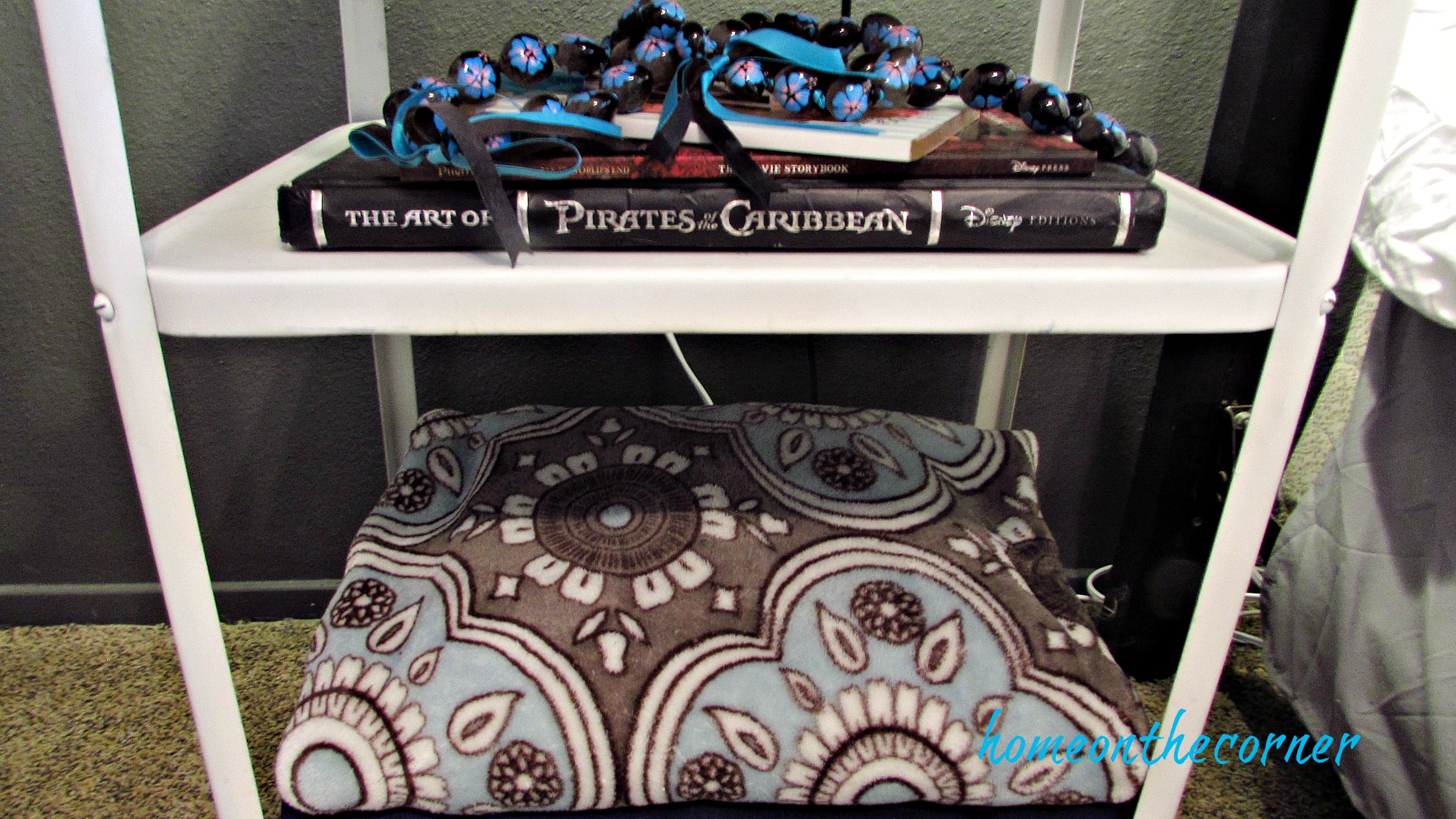 Guest Room Makeover Nightstand Blanket and Book