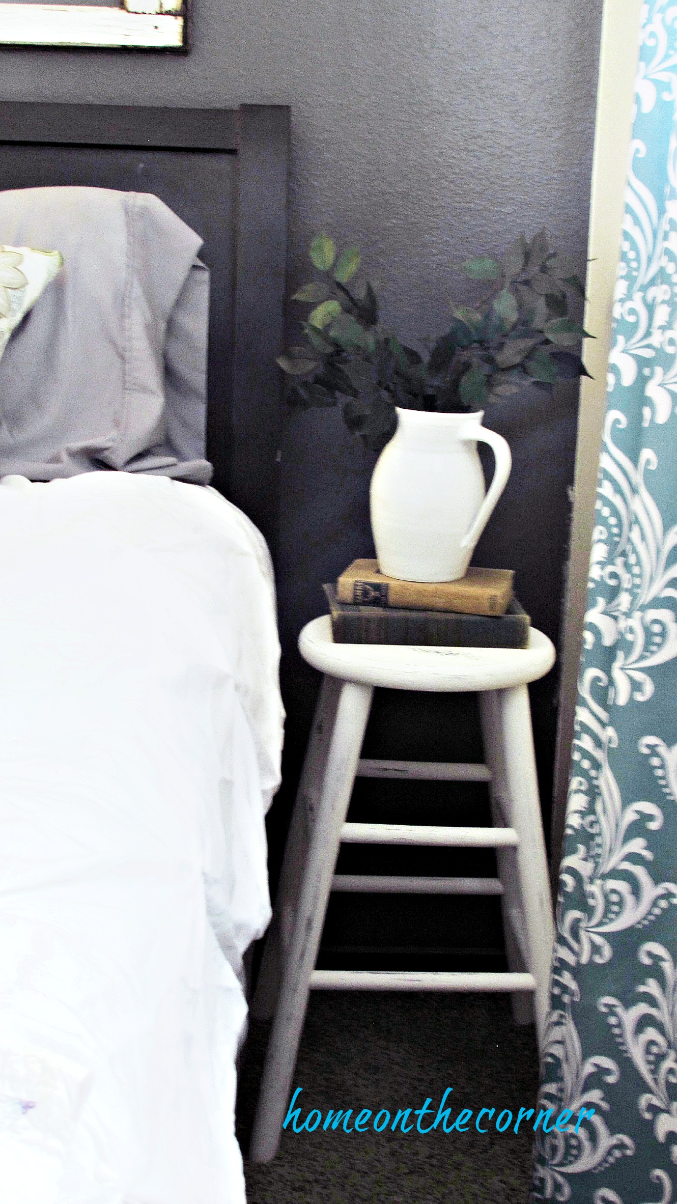 Guest Room Makeover Side table stool and pitcher