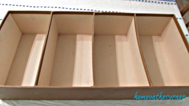 seashell box makeover dividers