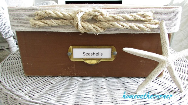 seashell box makeover label and rope