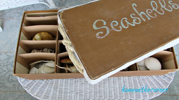 seashell box makeover lid and box