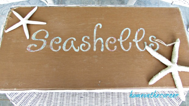 seashell box makeover paper letters and starfish