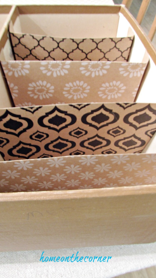 seashell box makeover printed paper dividers