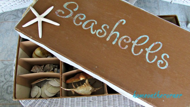 seashell box makeover turquoise letters