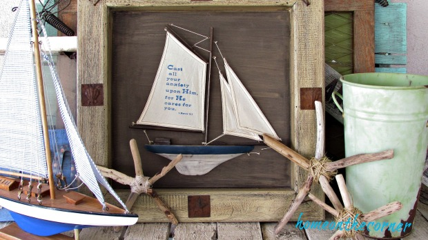 driftwood starfish with twine boats