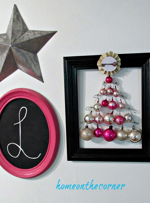 pink christmas black frame wall decor