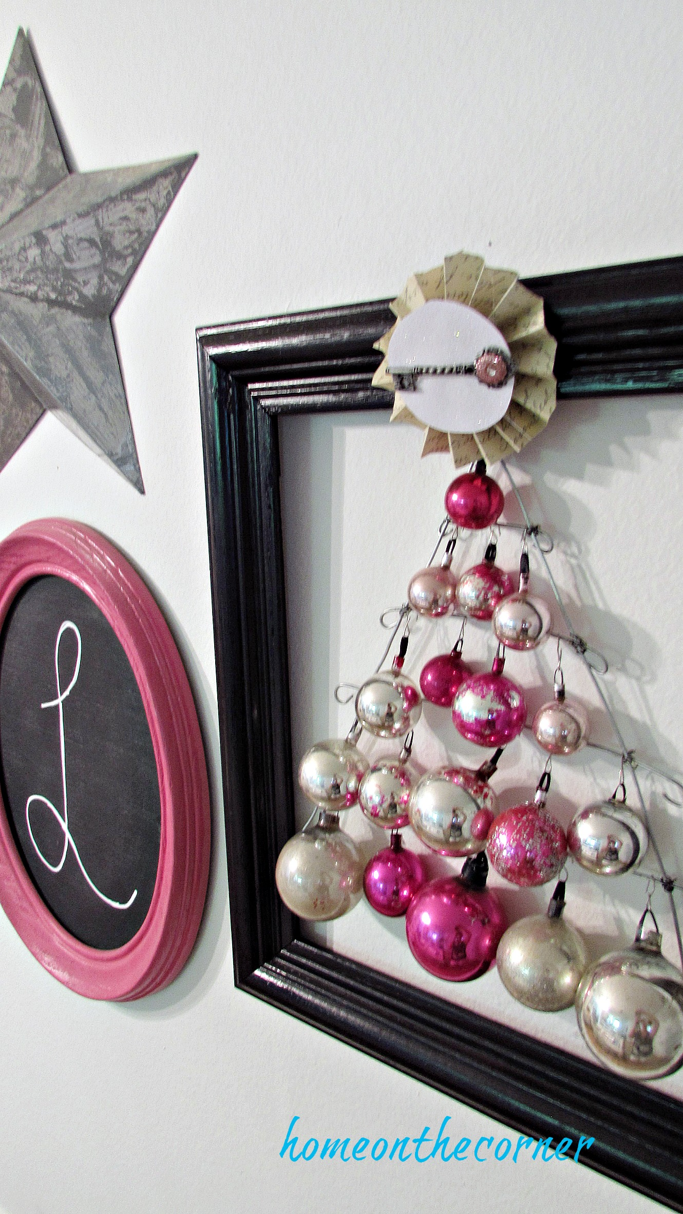 pink christmas ornament pink silver black