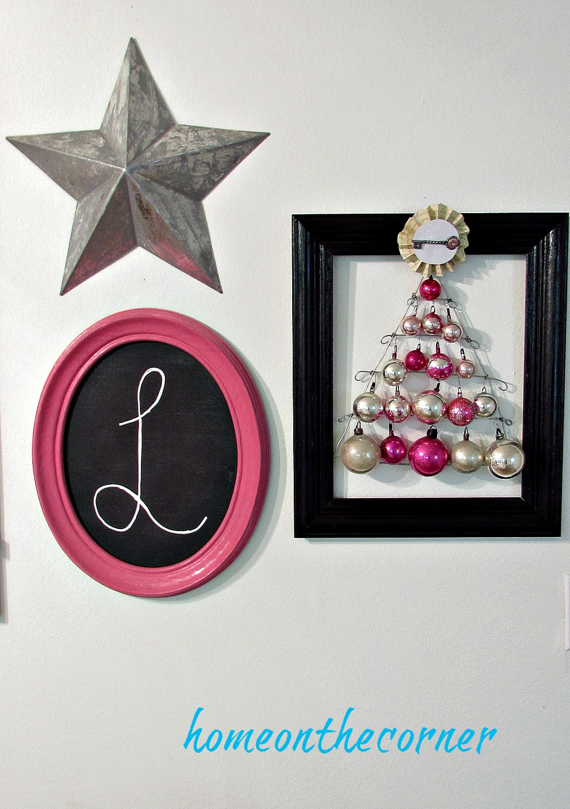 pink christmas ornament tree hanging
