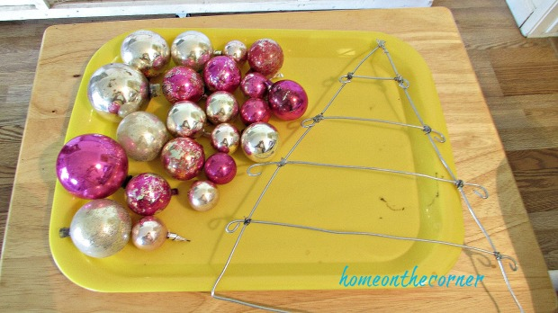 pink christmas ornament wire tree and vintage ornaments