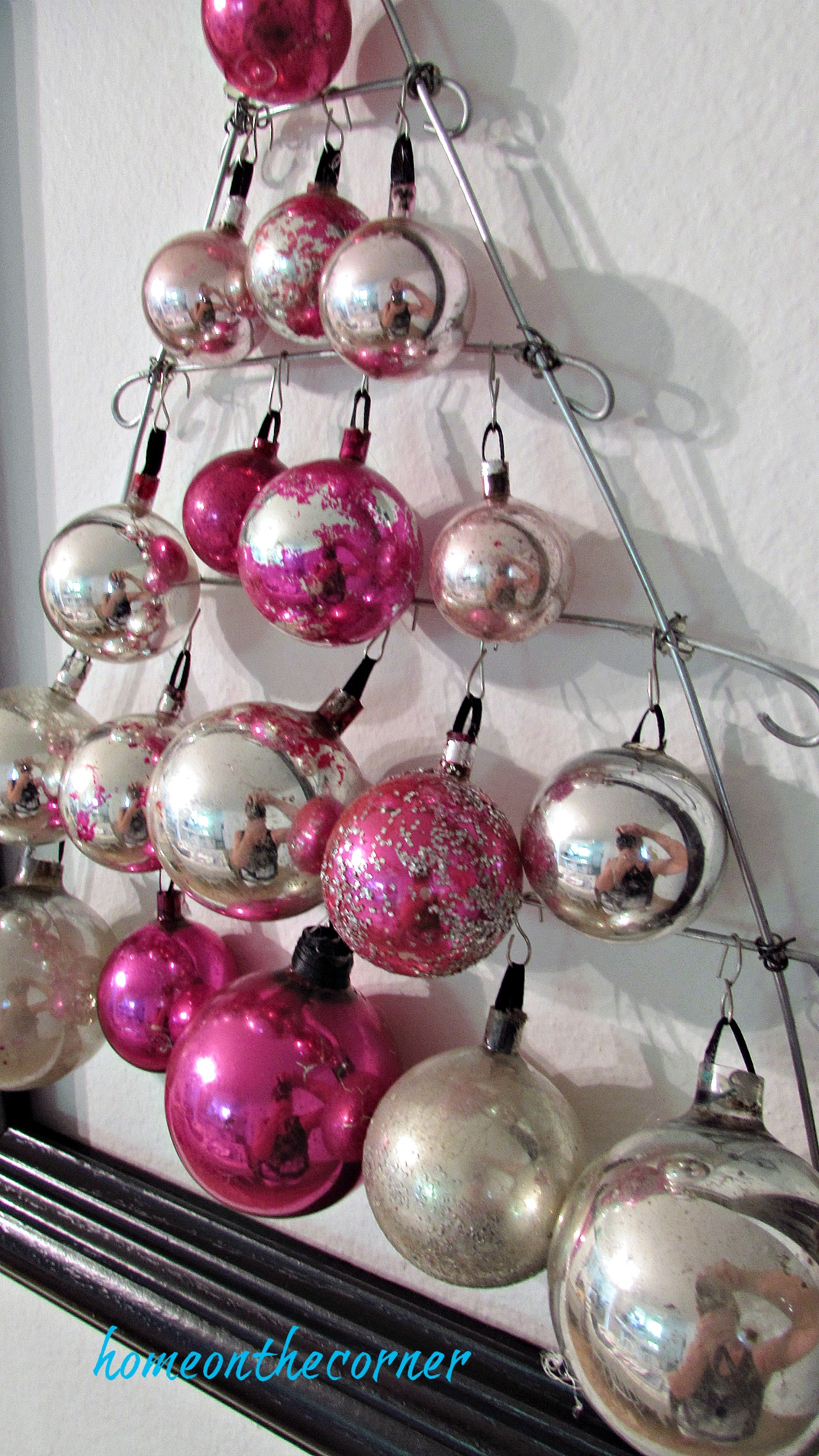 pink christmas silver black and pink hanging tree