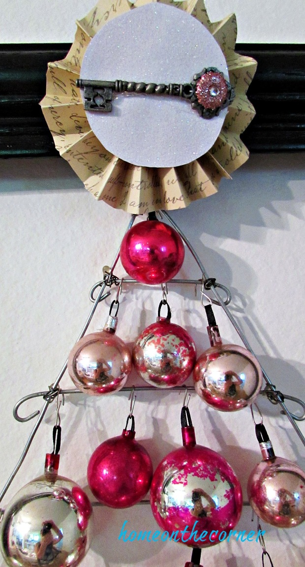 pink christmas tree ornament tree topper with key