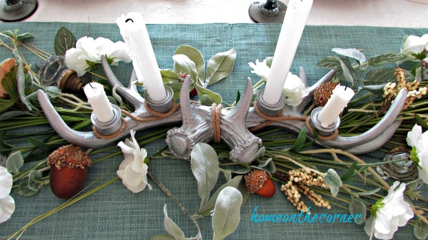 early fall dining room antlers candles flowers, acorns