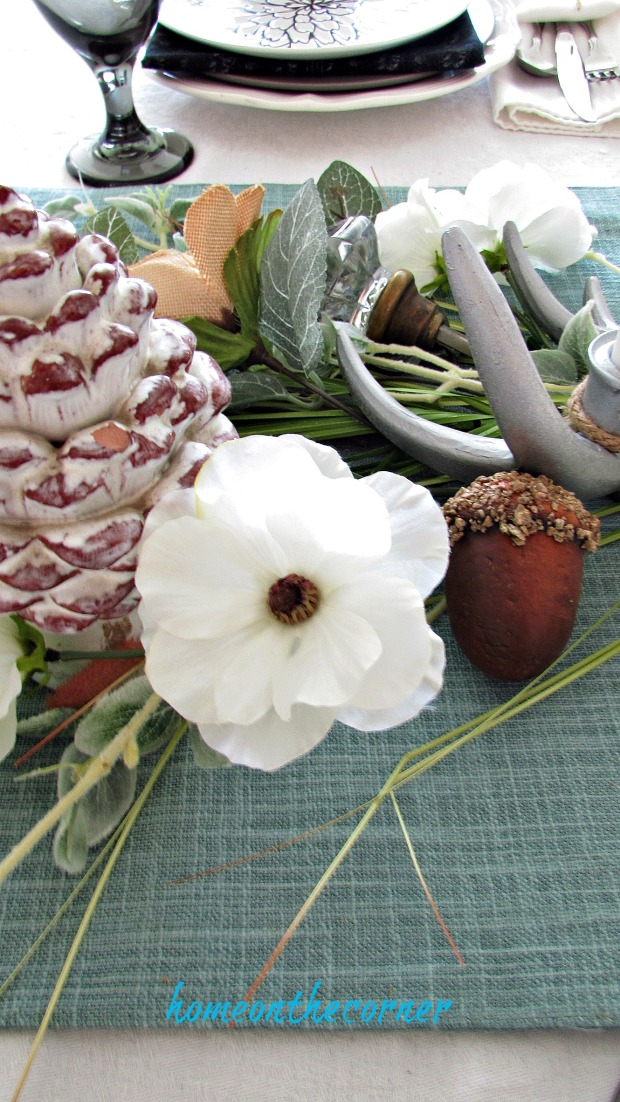 early fall dining room flowers, acorns glass knobs