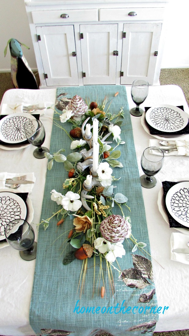 early fall dining room table centerpiece and runner