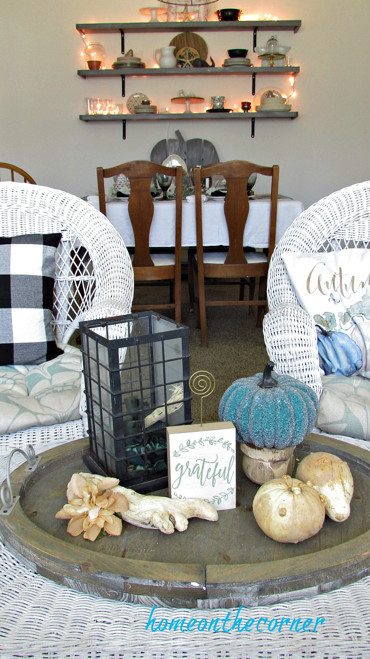 early fall living room coffee table vignette
