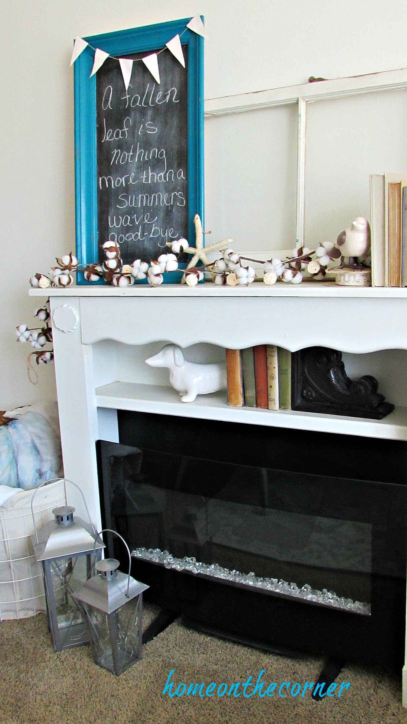 early fall living room mantle cotton chalkboard