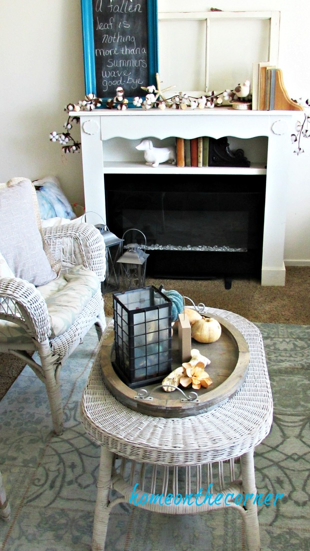 early fall living room mantle fireplace