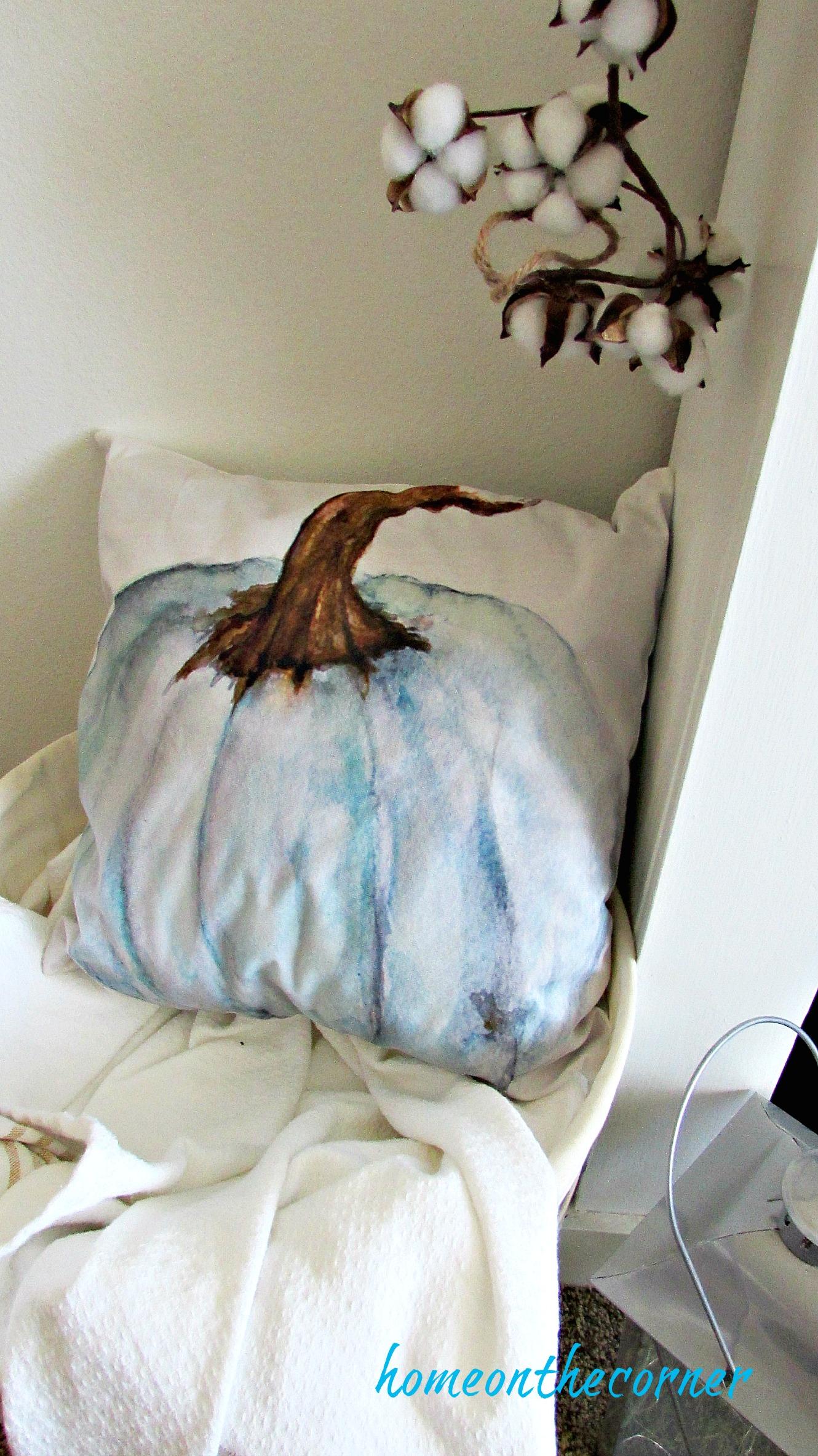 early fall living room pumpkin pillow
