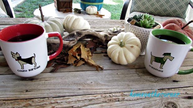 fall 2018 back patio pumpkin dog mugs