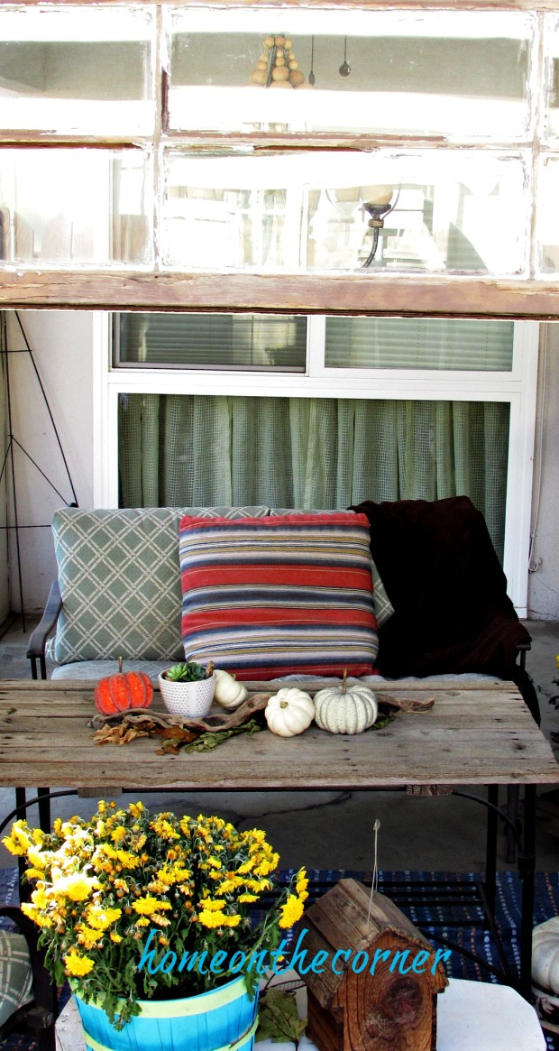fall 2018 back patio striped pillow couch