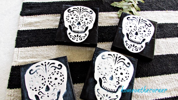 skull coaster black wooden block