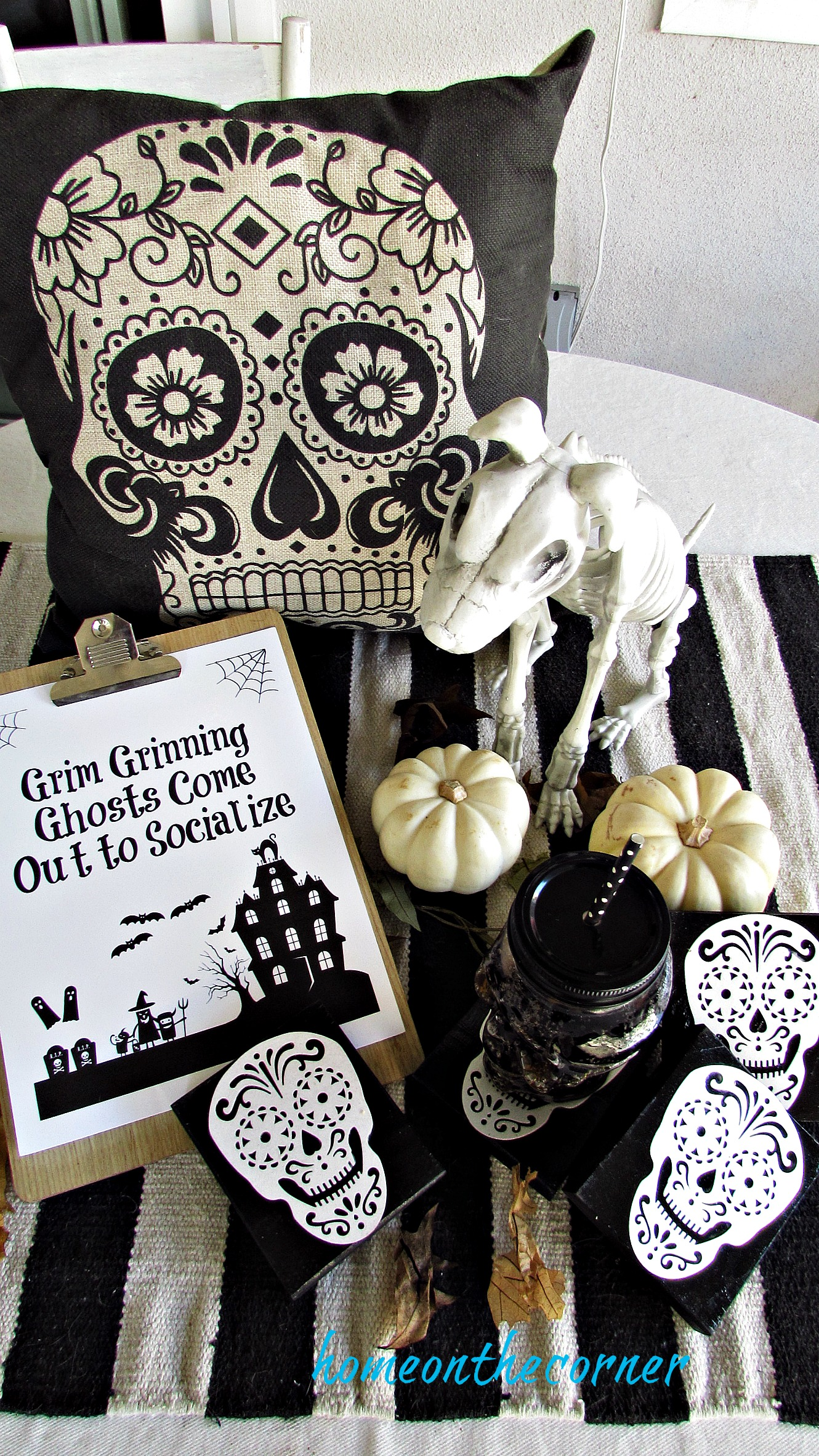skull coaster tablescape
