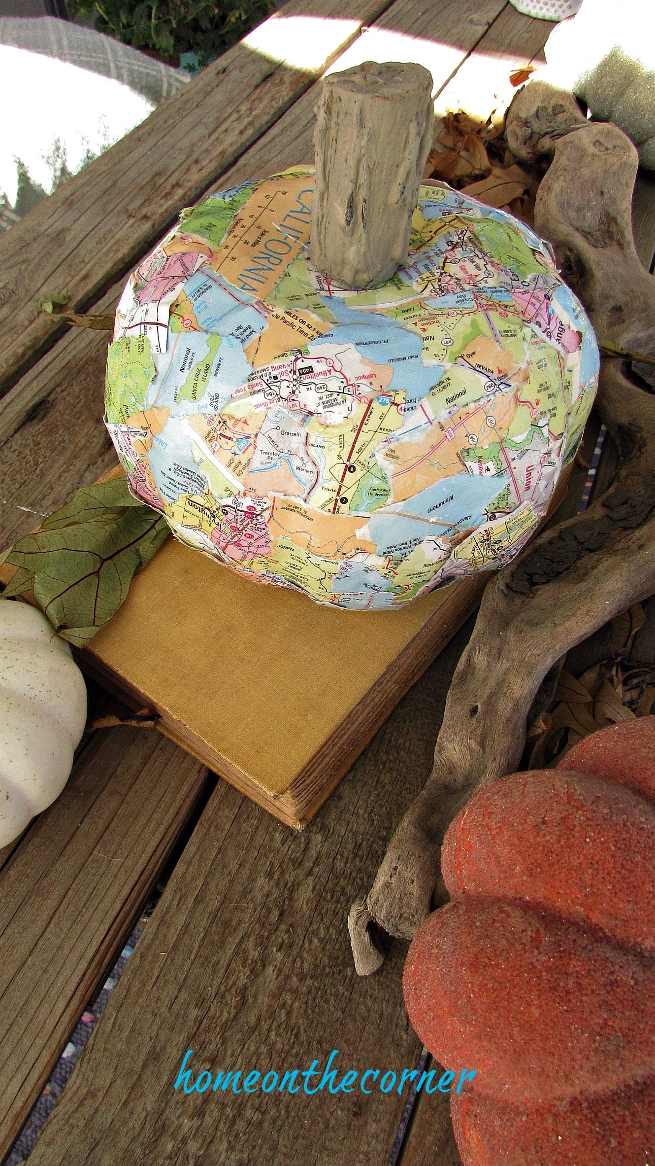 travel map pumpkin book driftwood