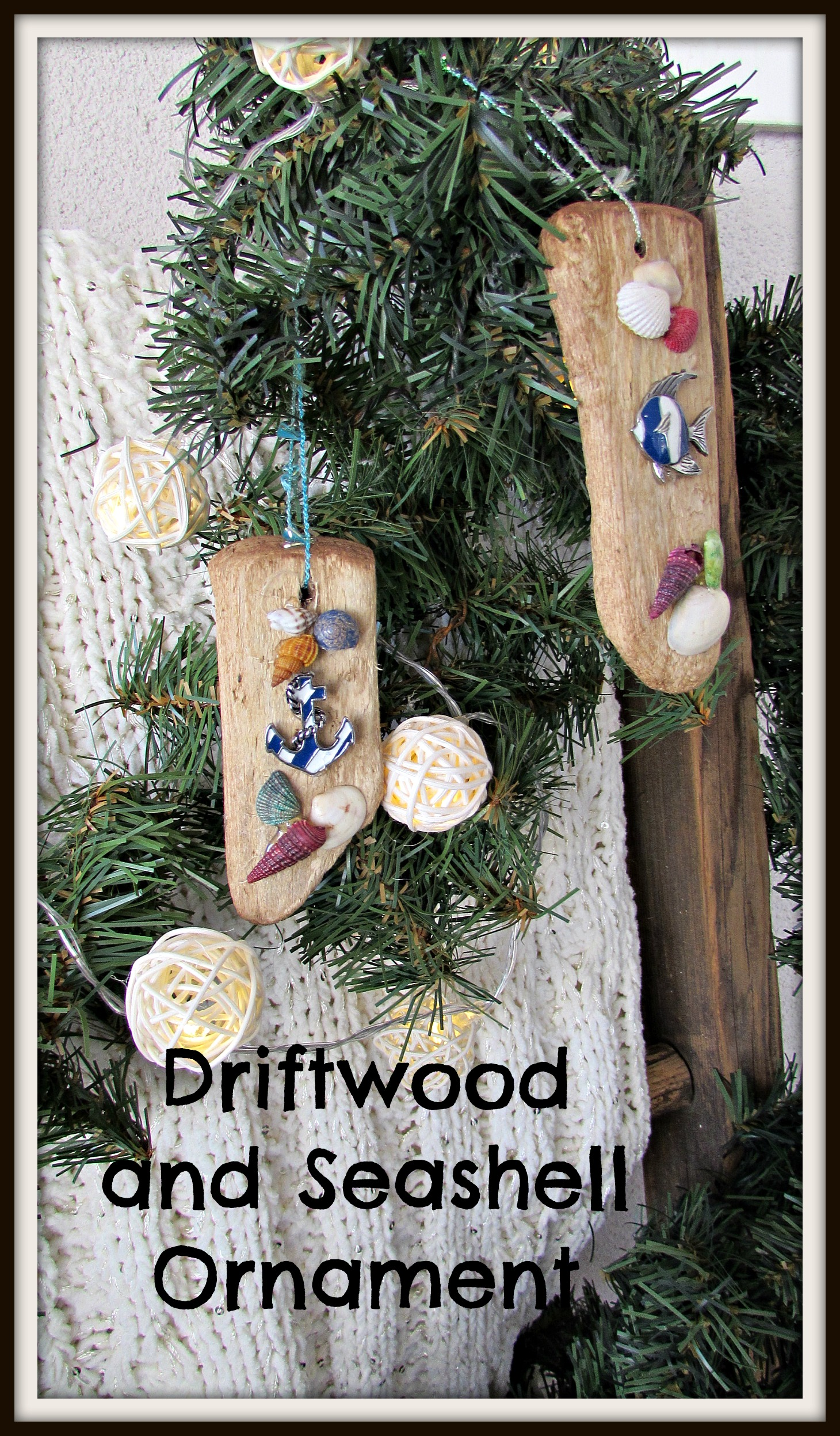 driftwood and seashell ornament title