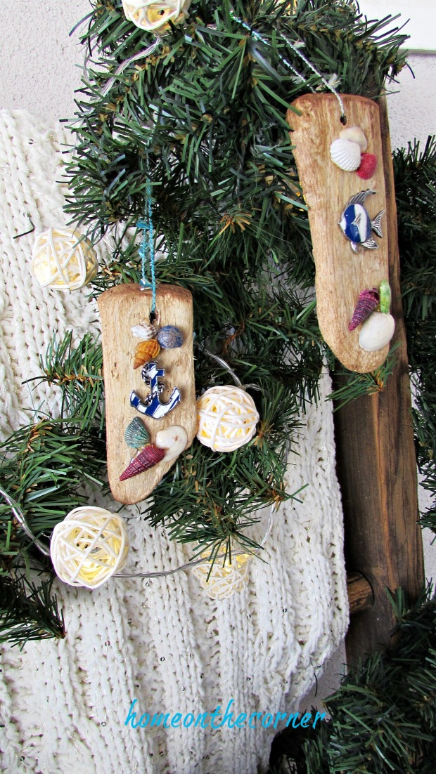 ornament exchange driftwood beach shells anchor