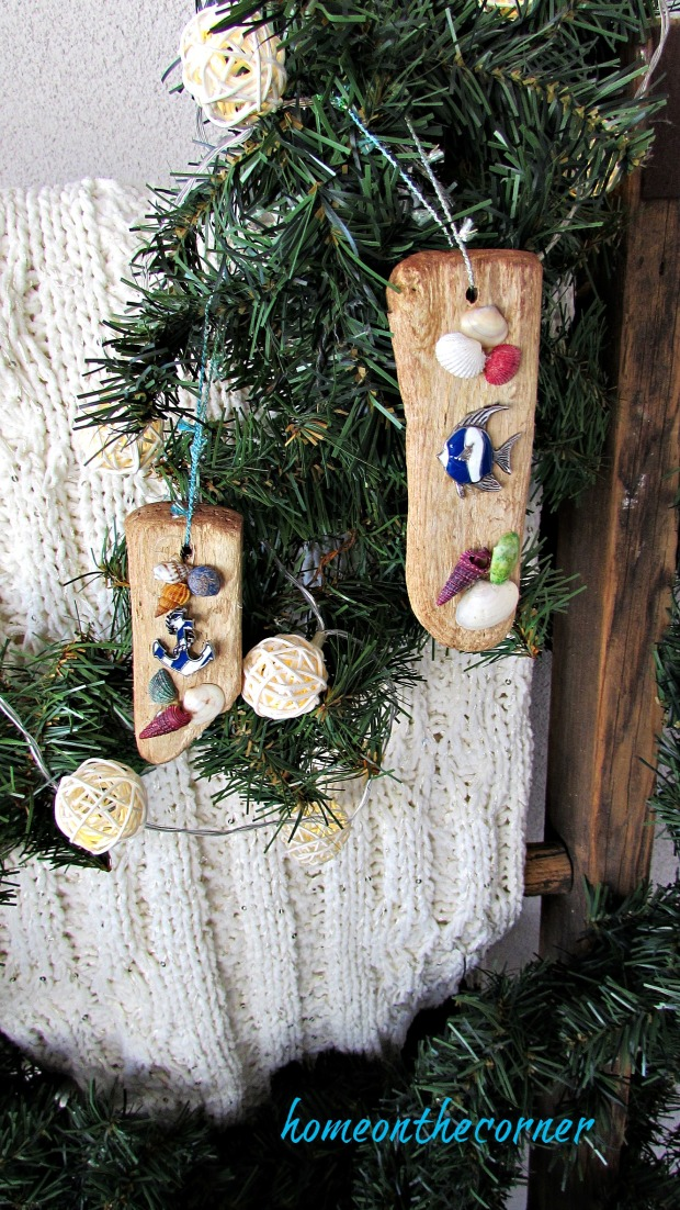 ornament exchange driftwood ornament seashells