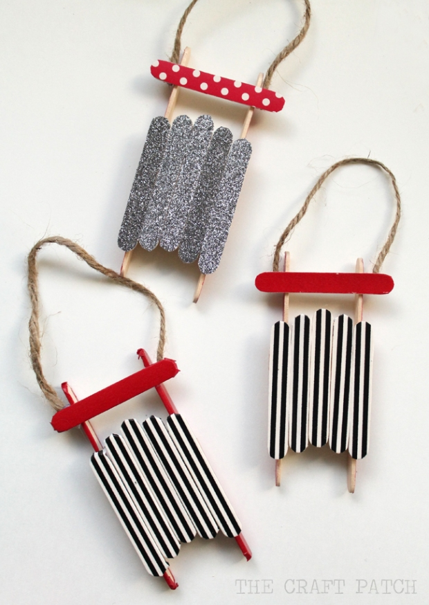 popcicle stick sled ornament