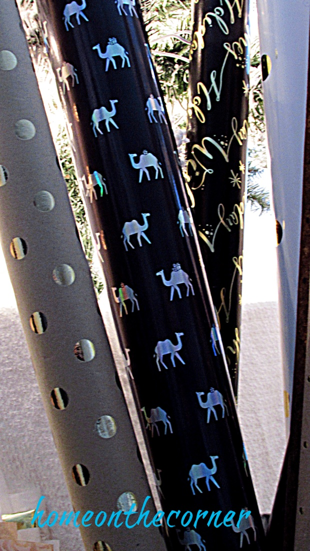 gold, black, camel christmas wrapping paper