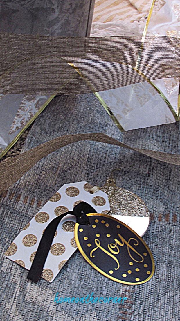 gold, black polka-dots gift tags