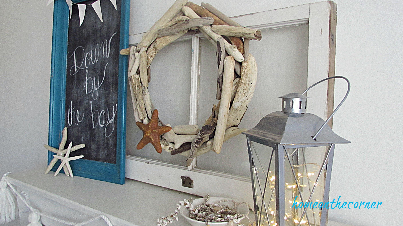driftwood wreath old window mantle