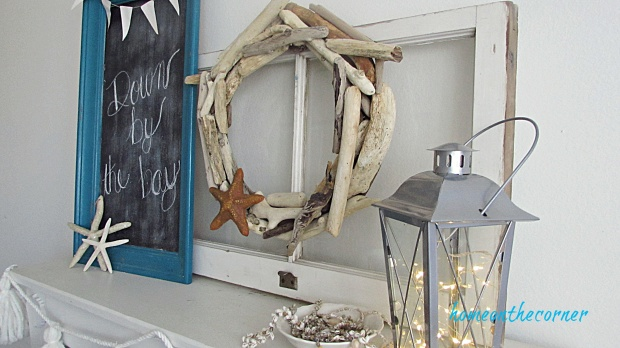driftwood wreath old window mantle
