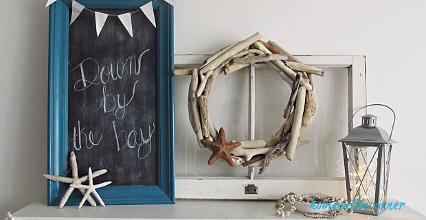 driftwood wreath old window