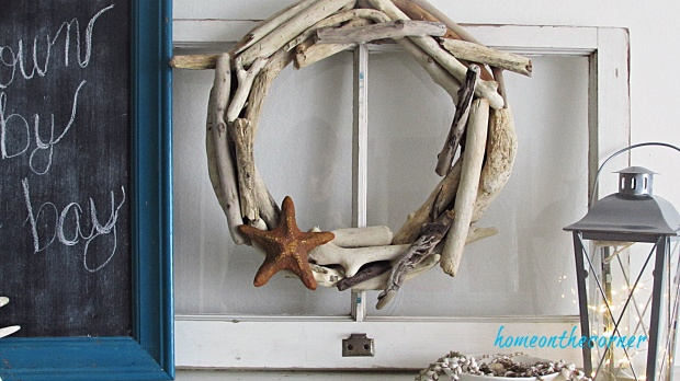 driftwood wreath with starfish
