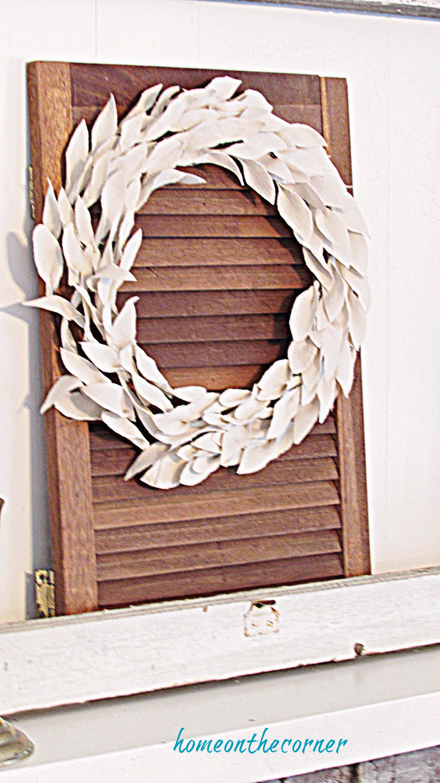 drop cloth leaf wreath hanging on shutter (1)