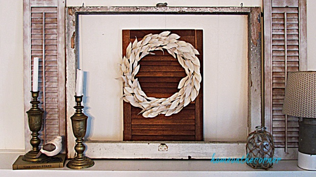 drop cloth leaf wreath shutters jar candles