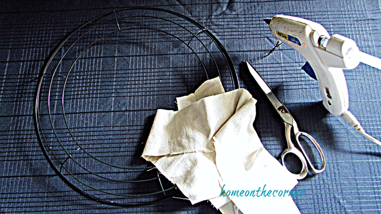 drop cloth leaf wreath supplies